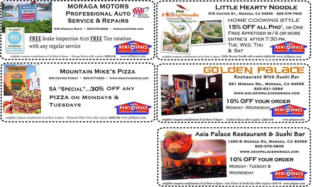 Moraga Retail Coupons